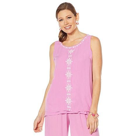Curations Embroidered Gauze Tank