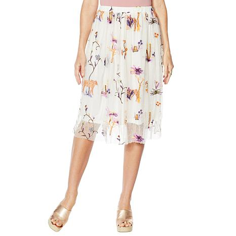 Curations Embroidered Midi Skirt