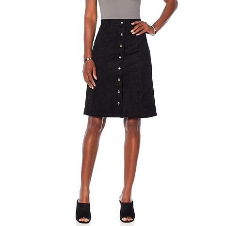 Curations Faux Suede Skirt with Buttons