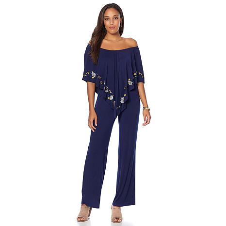 Curations On/Off Shoulder Embroidered Jumpsuit