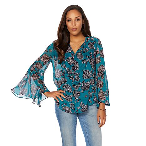 Curations Printed Chiffon Blouse with Camisole