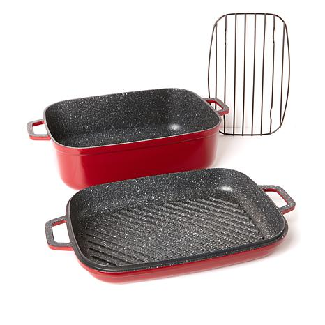 curtis stone dura pan nonstick 8 5 qt roaster with 3 5 qt grill