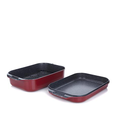 Curtis Stone DuraPan Nonstick Double-Sided Roaster Set