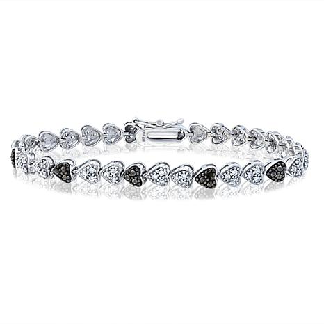 "CZ and Marcasite Sterling Silver ""Heart"" 7-1/8"" Line Bracelet"