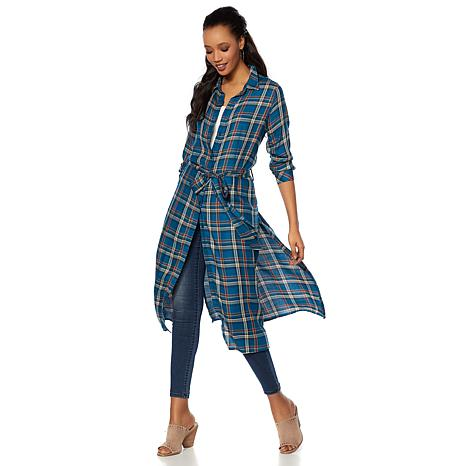 Daisy Fuentes Plaid Button-Down Duster