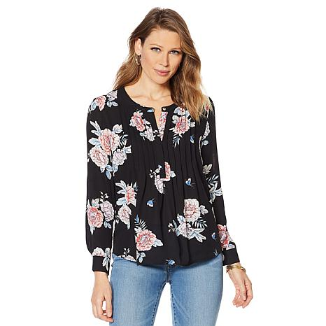 Daniel Rainn Pin Tuck 3/4 Sleeve Blouse