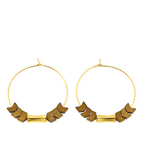 David Aubrey Marquise Detail Goldtone Hoop Earrings
