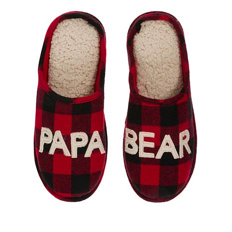 Dearfoams Men/'s Holiday Plaid Print Closed Toe Scuff Slipper Padded Slip-Ons with Memory Foam Insole and Rubber Sole