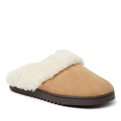 Dearfoams Women's Genuine Suede Closed-Toe Scuff Slippers