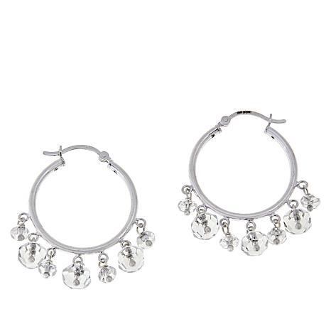 "Deb Guyot Herkimer ""Diamond"" Quartz Dangle Hoop Earrings"