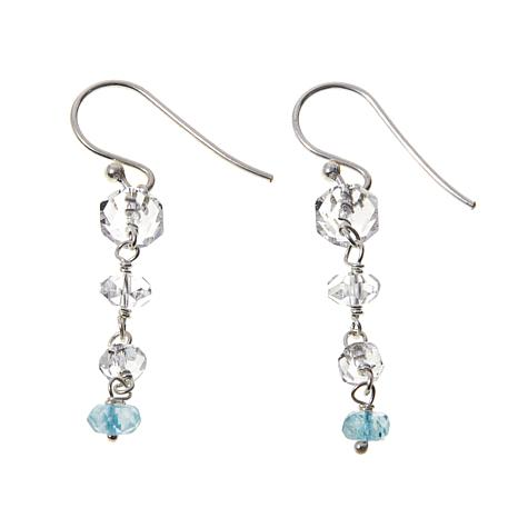 Deb Guyot Herkimer Quartz & Aquamarine Drop Earrings