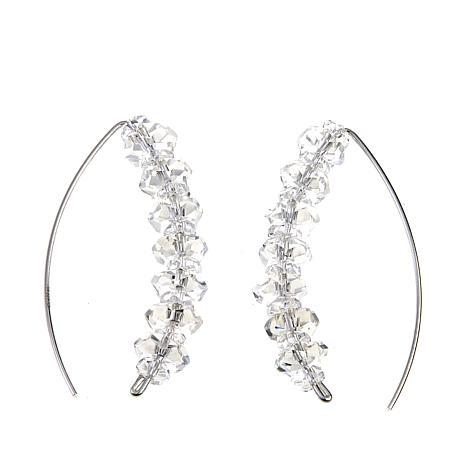 "Deb Guyot Sterling Silver Herkimer ""Diamond"" Quartz Stiletto Earrings"