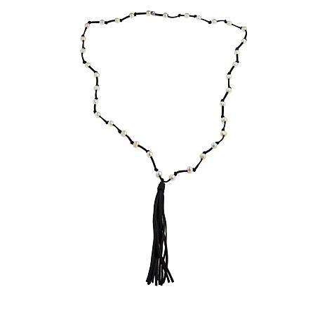 Deb Guyot Studio Cultured Pearl Leather Tassel Necklace