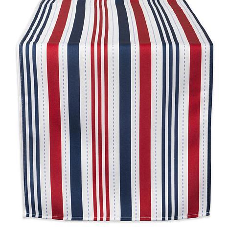 "Design Imports 14"" x 108"" Patriotic Stripe Outdoor Table Runner"