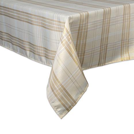 "Design Imports Cream Metallic Plaid Tablecloth 52"" x 52"""