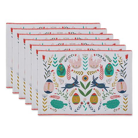 Design Imports Easter Folk Garden Embellished Placemat Set 6-pack