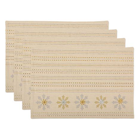 Design Imports Embroidered Snowflakes Reversible Placemat Set of 4