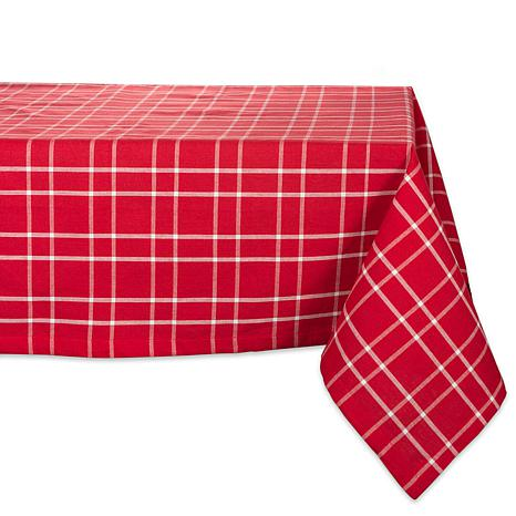 Design Imports Holly Berry Farmhouse Plaid Tablecloth 52-in x 52-in