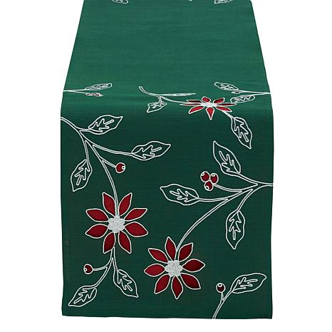 Design Imports Poinsettias Embroidered Table Runner 14-inch x 70-inch