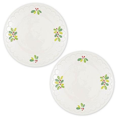 Design Imports Round Mistletoe Sprig Serving Platters Set of 2