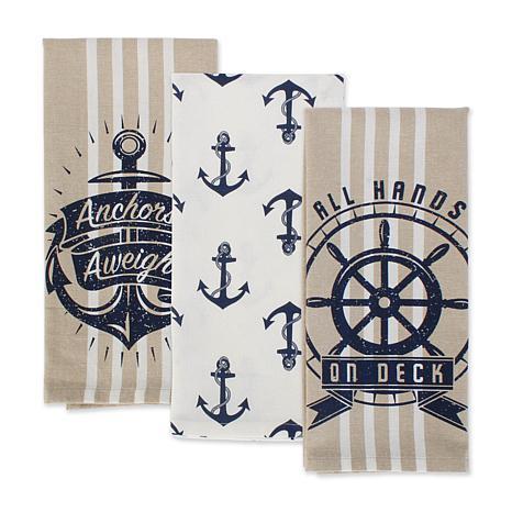 Design Imports Seafair Kitchen Towel Set of 3