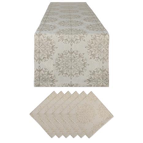 Design Imports Winter Sparkle Jacquard Table Set