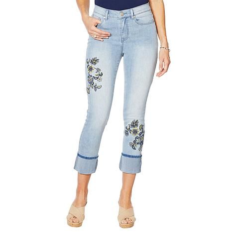 DG2 by Diane Gilman Classic Stretch Embroidered Cuffed Jean  - Basic