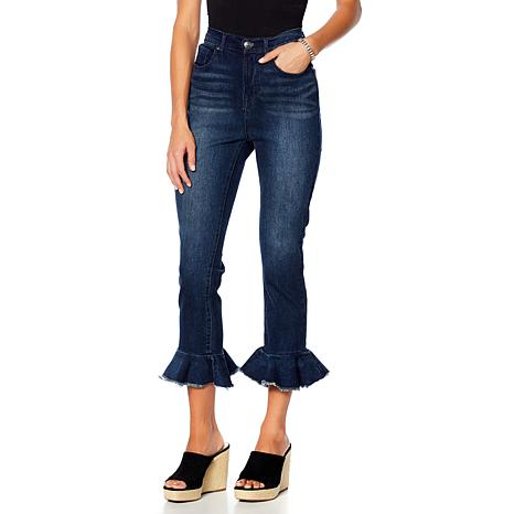 DG2 by Diane Gilman Classic Stretch Ruffle Hem Cropped Jean - Basic