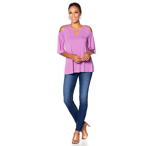 18668b43a772c DG2 by Diane Gilman Cold-Shoulder Keyhole Top - 8671312