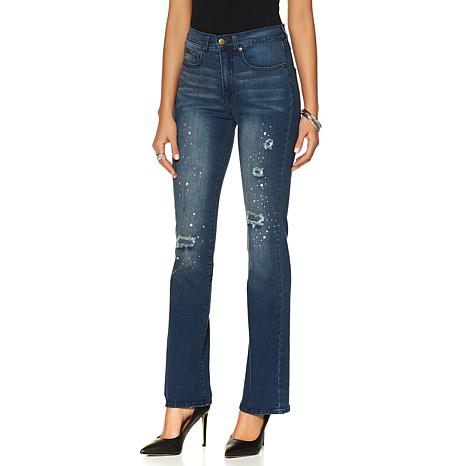 DG2 by Diane Gilman Destructed Jewel Studded Flare Jean