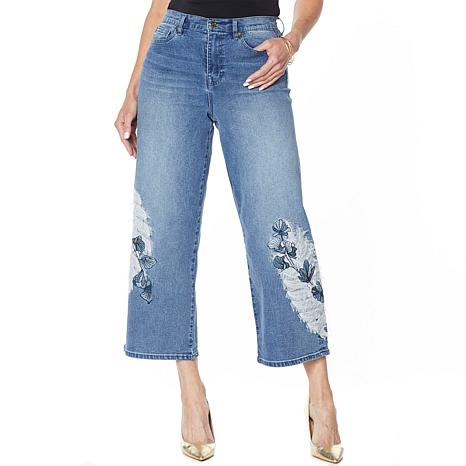DG2 by Diane Gilman Embroidered Cropped Wide-Leg Jean - Basic