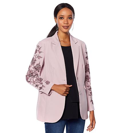 DG2 by Diane Gilman Embroidered Gabardine Blazer