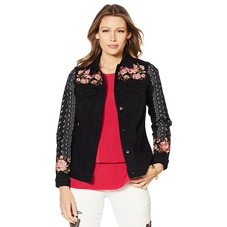 DG2 by Diane Gilman Floral Embroidered Denim Jacket