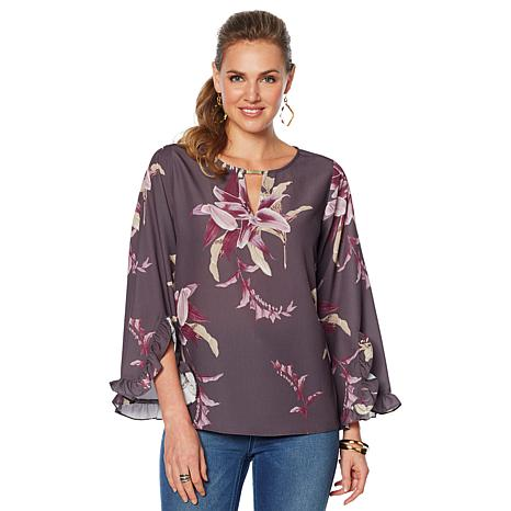 DG2 by Diane Gilman Floral Keyhole Ruffle-Sleeve Blouse