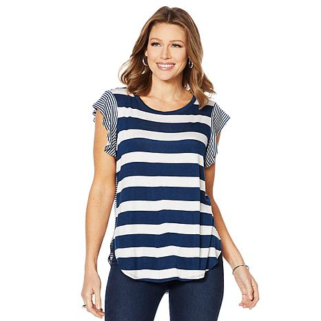 DG2 by Diane Gilman Multi-Stripe Shirttail-Hem Tee