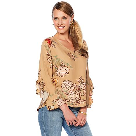DG2 by Diane Gilman Ruffle-Sleeve Floral V-Neck Top