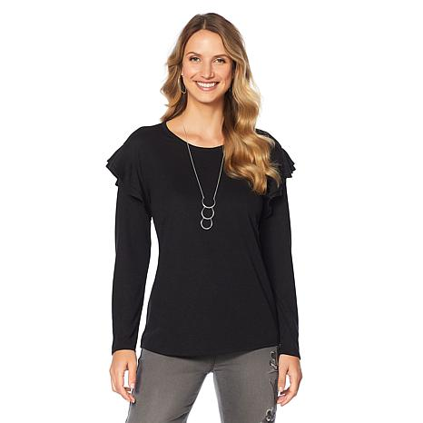 DG2 by Diane Gilman Ruffle-Sleeve Top