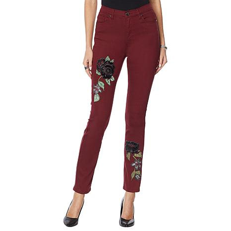 DG2 by Diane Gilman Skinny Jean with Velvet Embroidery - Fashion