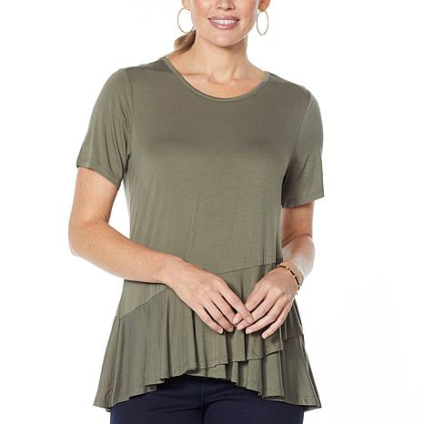 DG2 by Diane Gilman Sustainable Bamboo Crossover Peplum Top