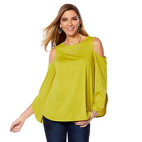 3c0f567a6ccd0f DG2 by Diane Gilman Tulip-Sleeve Cold-Shoulder Top - 8688163