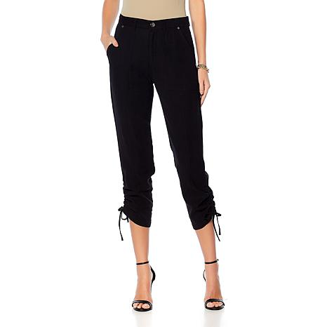 DG2 by Diane Gilman Twill Utility Ankle Pant with Ruching