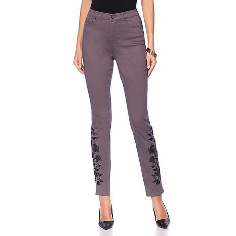 DG2 by Diane Gilman Virtual Stretch Rose Embroidered Skinny - Fashion