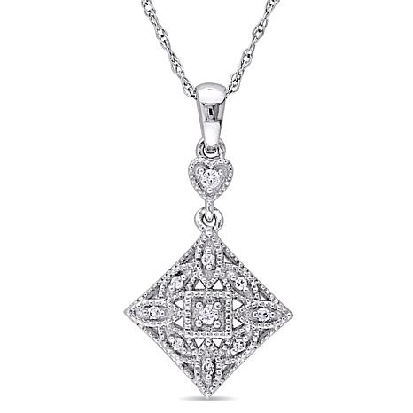 Diamond 10k white gold scroll design diamond shaped pendant with 17 diamond 10k white gold scroll design diamond pendant aloadofball Image collections