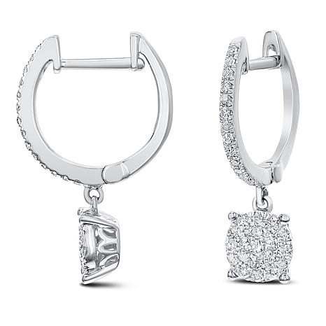 Diamond Couture 0.35ctw Diamond 14K Gold Hoop Dangle Earrings