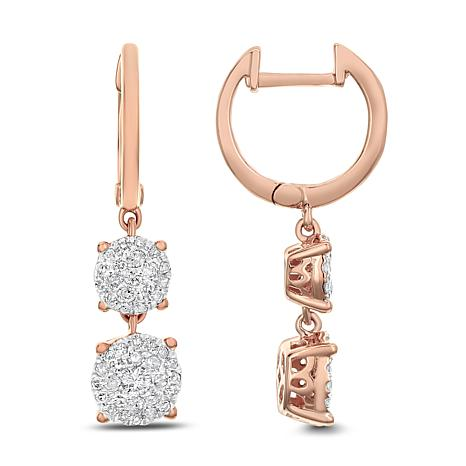 Diamond Couture 14K Gold 0.50ctw Diamond Cluster Double Drop Earrings