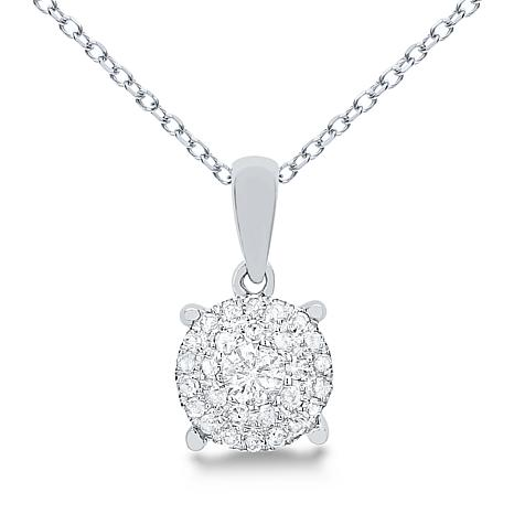 """Diamond Couture 14K Gold .20ctw Diamond Cluster Pendant with 18"""" Chain"""