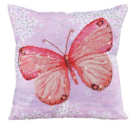Diamond Dotz Diamond Embroidery Pillow Facet Art Kit - Pink Flutter