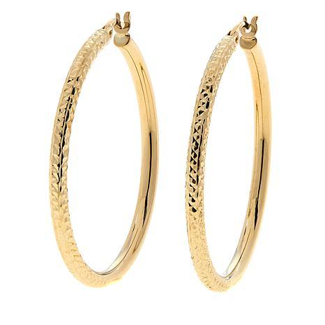 Dieci 10K Polished and Diamond-Cut Hoop Earrings