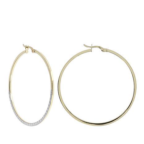 Dieci Two-Tone 10K Polished and Diamond-Cut Hoop Earrings