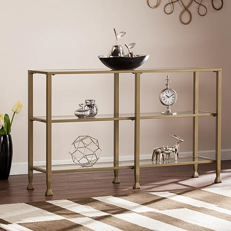 Dina Metal/Glass 3 Tier Console Media Stand   Gold